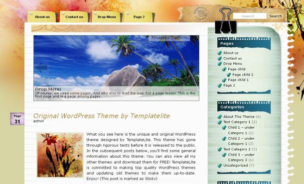 Free Floral Grunge Artworks Wordpress Theme