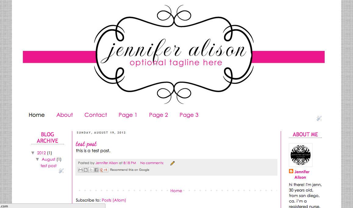 Pink Blogger Templates New Pink & Black Cute Damask Blog Blogger Template Layout ...