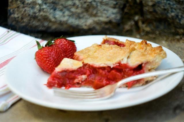 Strawberry Rhubarb Pie Slice (Side View)