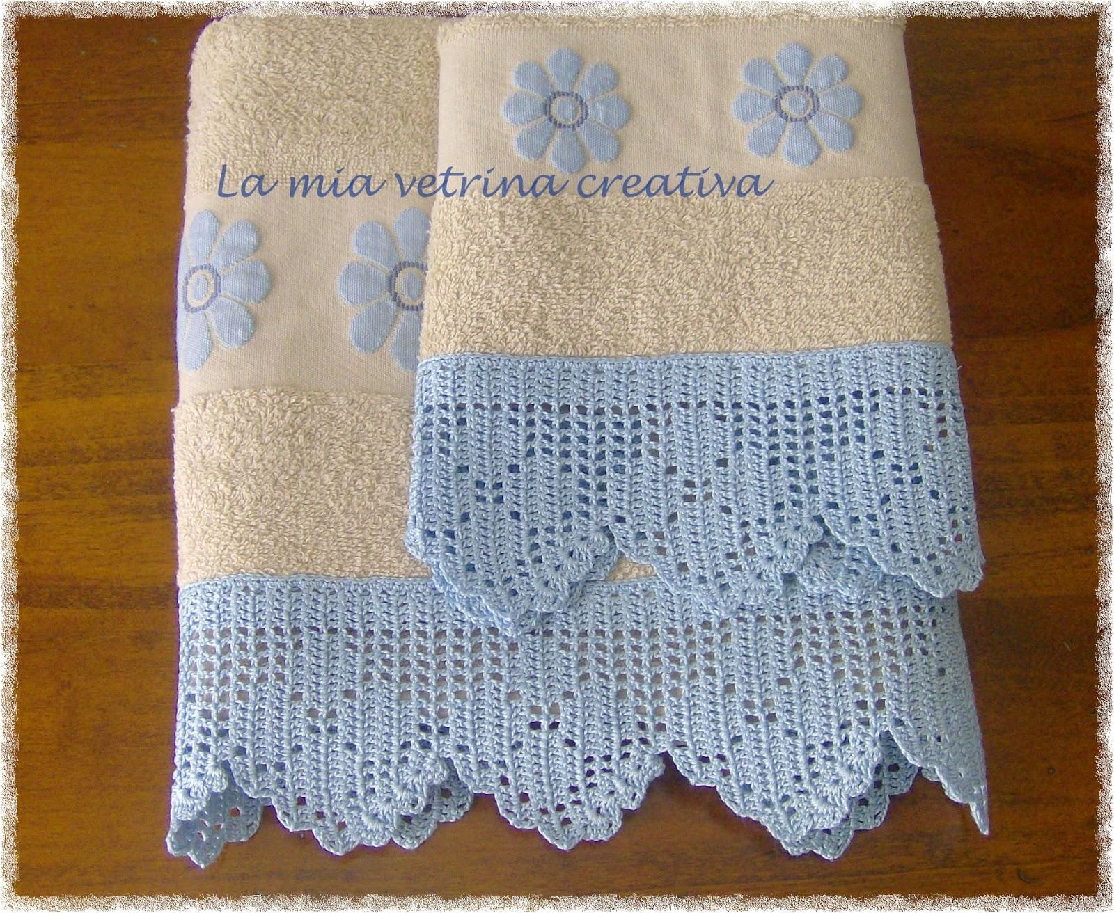 La mia vetrina creativa asciugamani con bordure a filet for Bordi uncinetto per asciugamani