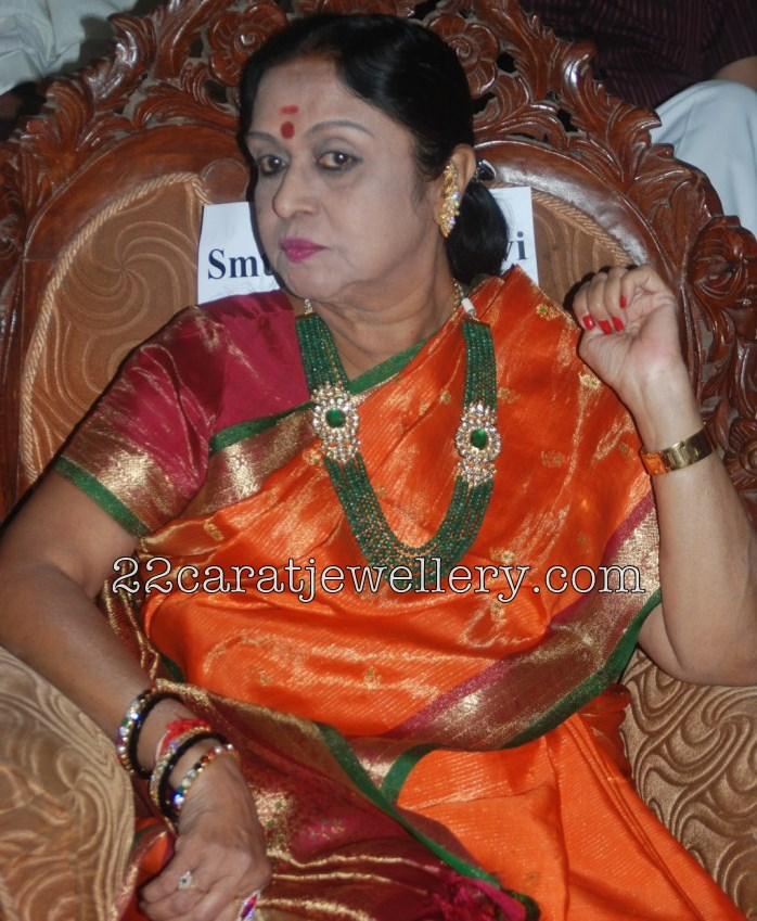 Tollywood senior actress B. Saroja Devi in multi strings emerald beads ...