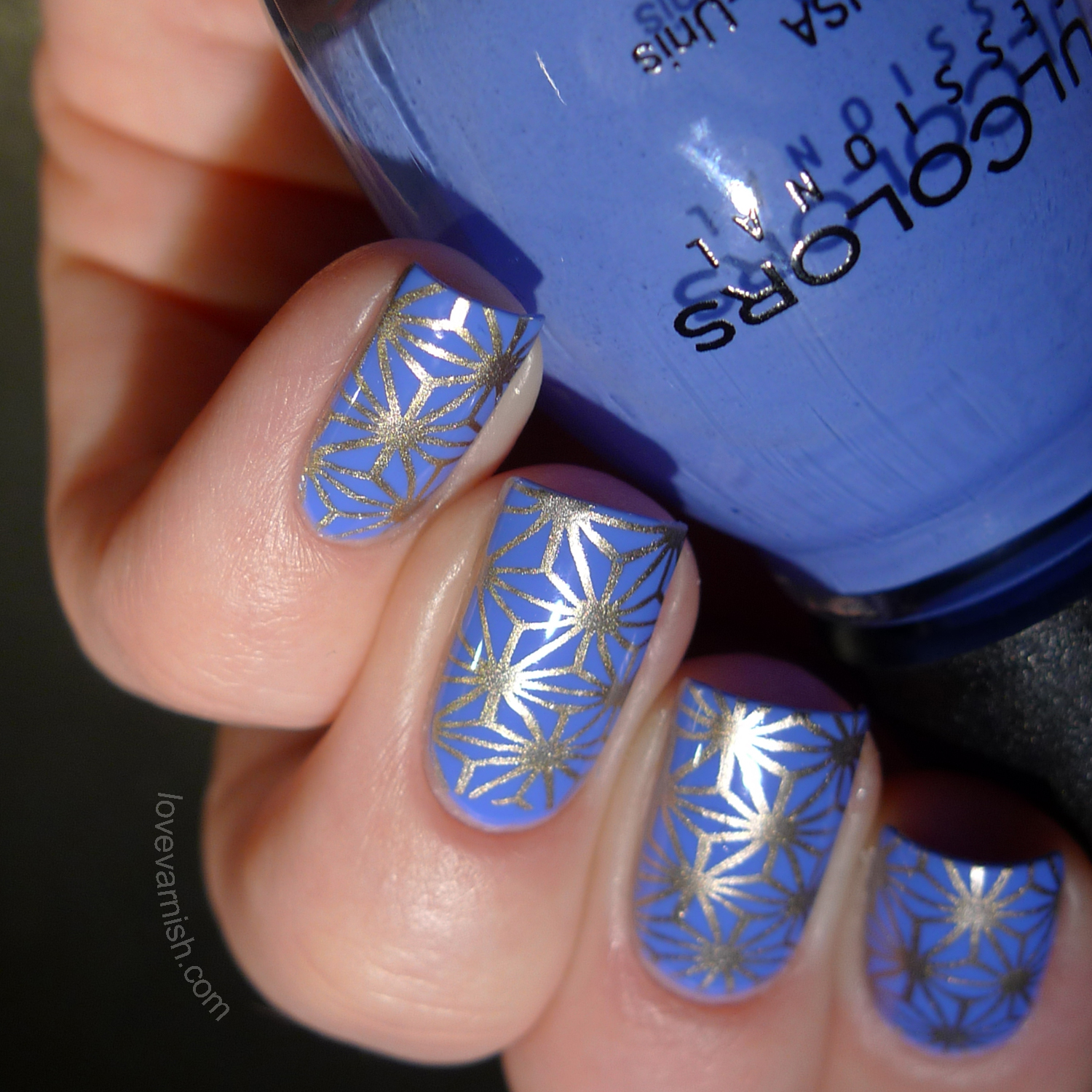 Sinful Colors Blue La La MoYou London stamping nailart