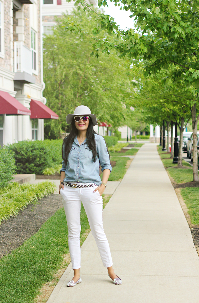 Jcrew Chambray Shirt, Striped flats, summer outfit ideas, How to wear chambray shirt