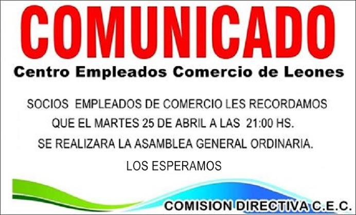 ESPACIO PUBLICITARIO: CENTRO EMPLEADOS DE COMERCIO LEONES