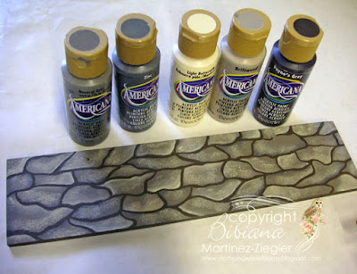 how to paint a cobblestone path: acrylic paints