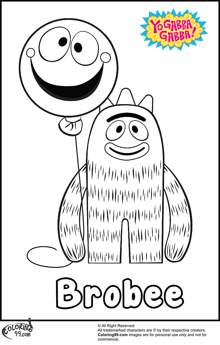 brobee with baloon coloring pages