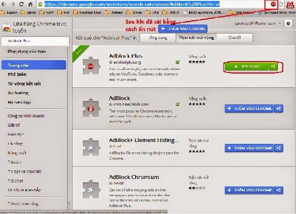 Cài đặt tiện ích mở rộng Adblock plus cho Chrome