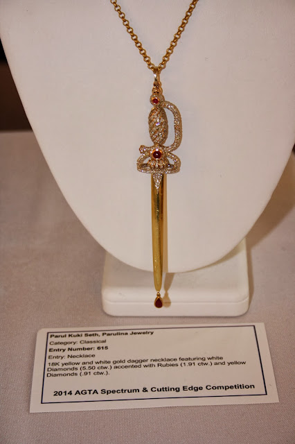 Parul Kuki Seth, Parulina Jewelry Dagger Necklace at AGTA Spectrum & Cutting Edge Competition