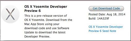 Apple Mac OS X (10.10) Yosemite Developer Preview 6