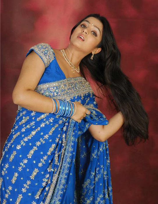 charmi in blue saree photos