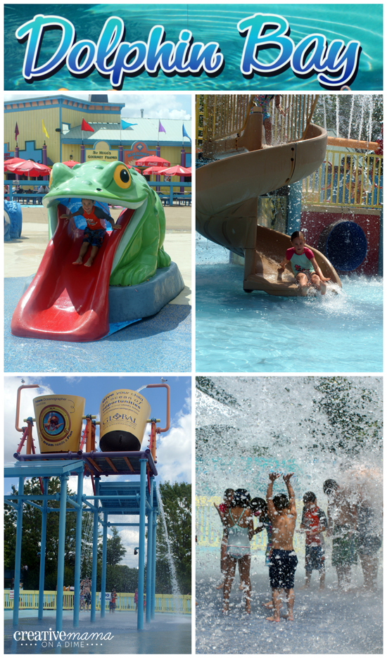 Wild Water Kingdom's great kids' area - water slides, splash pad, zip lines and more.