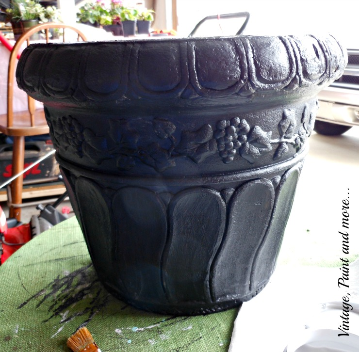 Vintage, Paint and more... black chalkboard painted flower pot