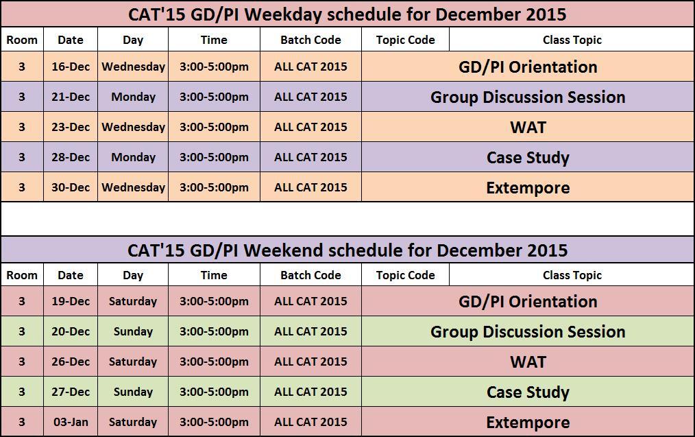 GD / PI Schedule For CATu002715 Students