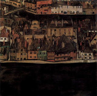 Kleinstadt, by Egon Schiele. Detailed description follows in caption.