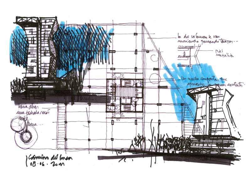 Dibujos de arquitecto architect drawings 110609 camino - Trabajo arquitecto barcelona ...
