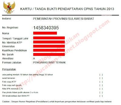 Contoh Tanda Bukti Pendaftaran CPNS Online :
