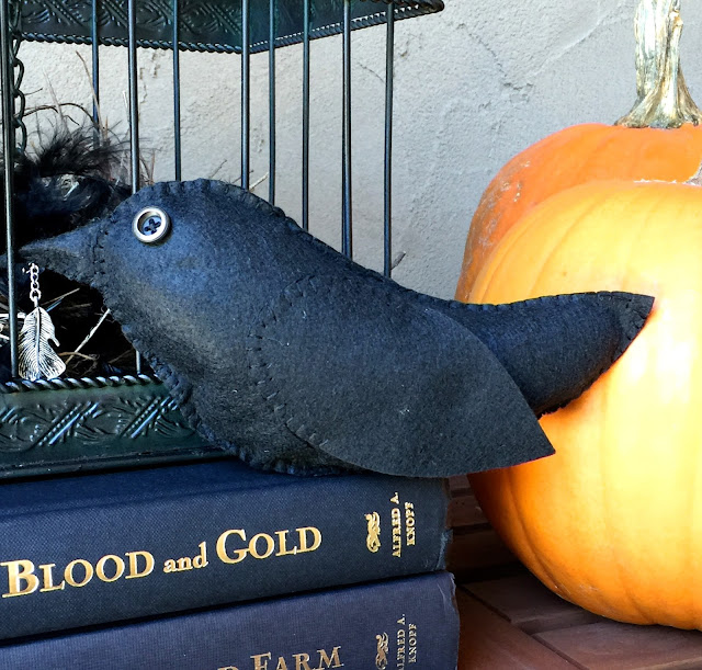 Hand Stitched Felt Crow