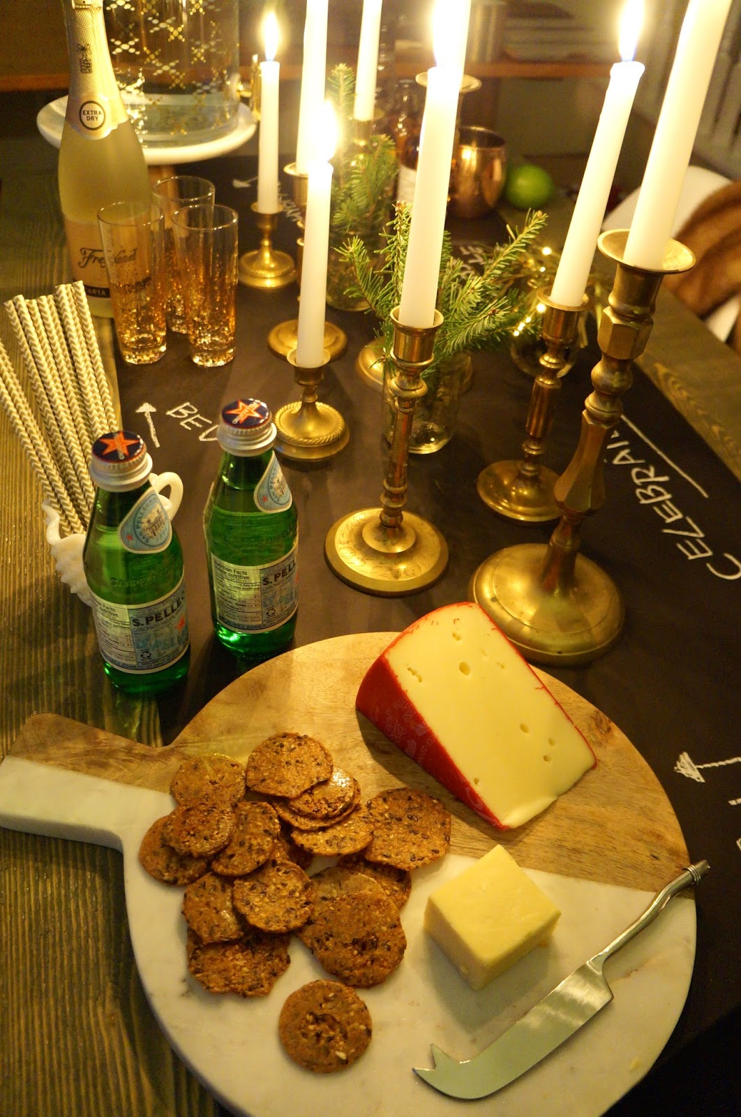 New Year's Eve Tablescape; Party, NYE, Candles, Cheese, Champagne