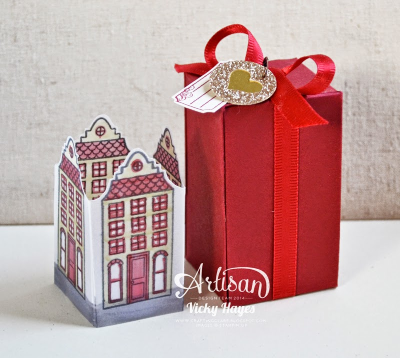 Christmas decorations presented in pretty boxes made on the Stampin' Up Gift Box punch board