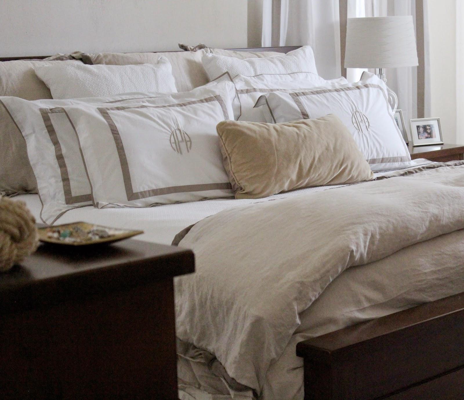 Sumatra Furniture, Linen, Bedding, Linen, Satin Trim, Monogram, Brownstone, White Sheets
