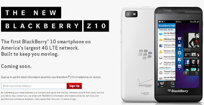 Anteriormente les comentamos que el BlackBerry Z10 de Verizon aparecio en su inventario el día de hoy, ahora tenemos la palabra oficial de la compañía – Las Pre-Ordenes para el BlackBerry Z10 se abrirán mañana 14 de marzo, a las 8 pm Hora del Este, y las ventas comienzan dos semanas después la cueles tienen fecha pautada para el 28 de marzo. Como en los rumores antes escuchados, Verizon también ha confirmado que el Z10 blanco será exclusivo para ellos en los EE.UU. Los pedidos pueden ser colocados en la siguiente URL: www.verizonwireless.com/blackberryz10 . Si tu compañía telefonica es Verizon