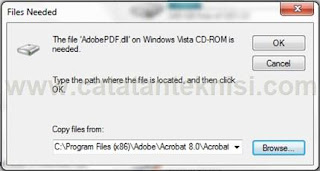 AdobePdf.dll on windows vista cd rom is needed
