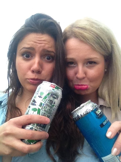 A rainy selfie of us drinking beer.