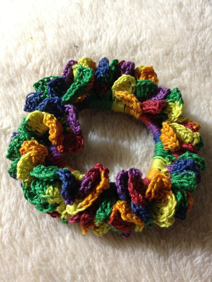 Crochet Hair Scrunchie : used size 10 thread and 1.8mm hook. I am working on another, getting ...