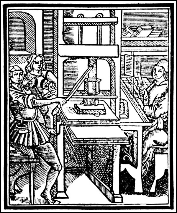 etching of a medieval printing press