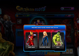 Choose Iron Man, Susan Storm or the Hulk as avatar in Superhero Slots