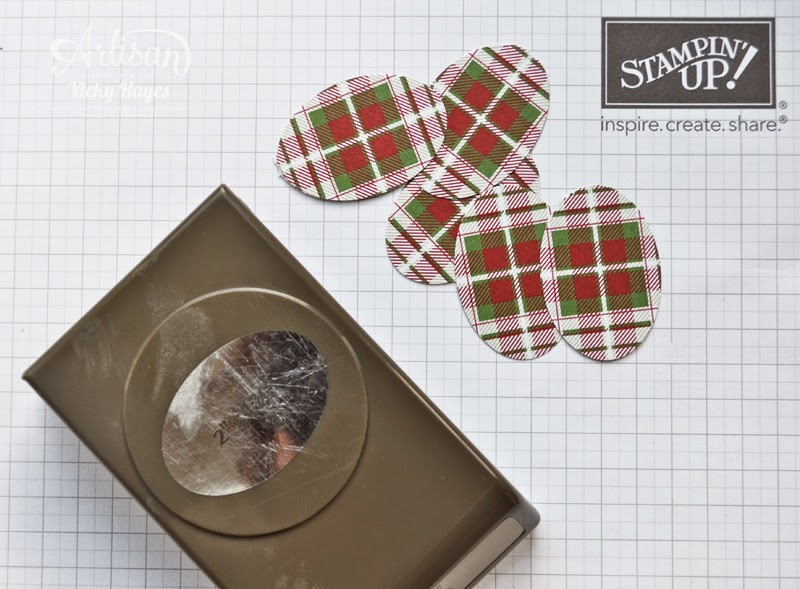 Using the Stampin' Up extra large oval punch to make Christmas decorations