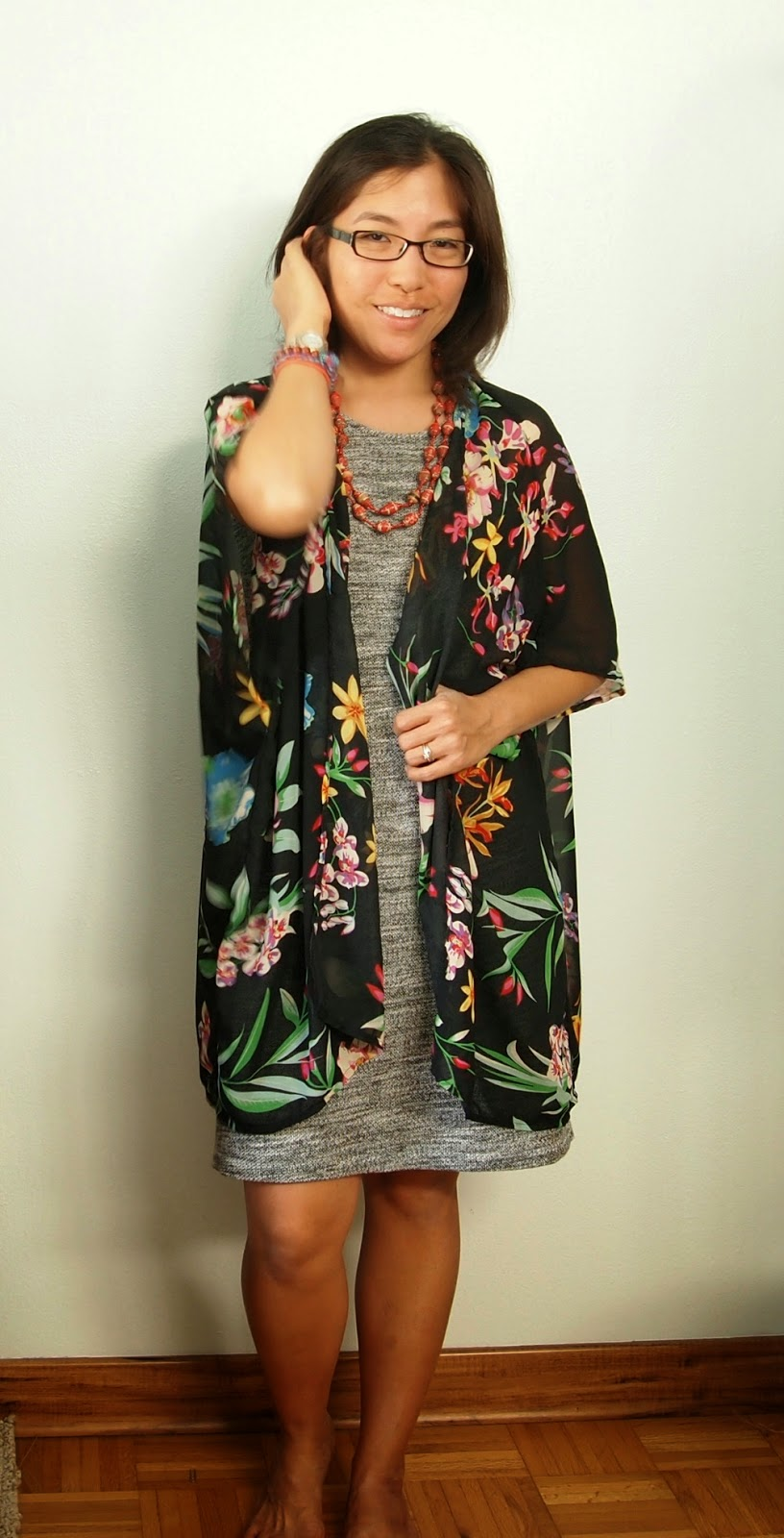 gray fleece dress black floral kimono top red beads Haitian Beads teacher style teacher outfit