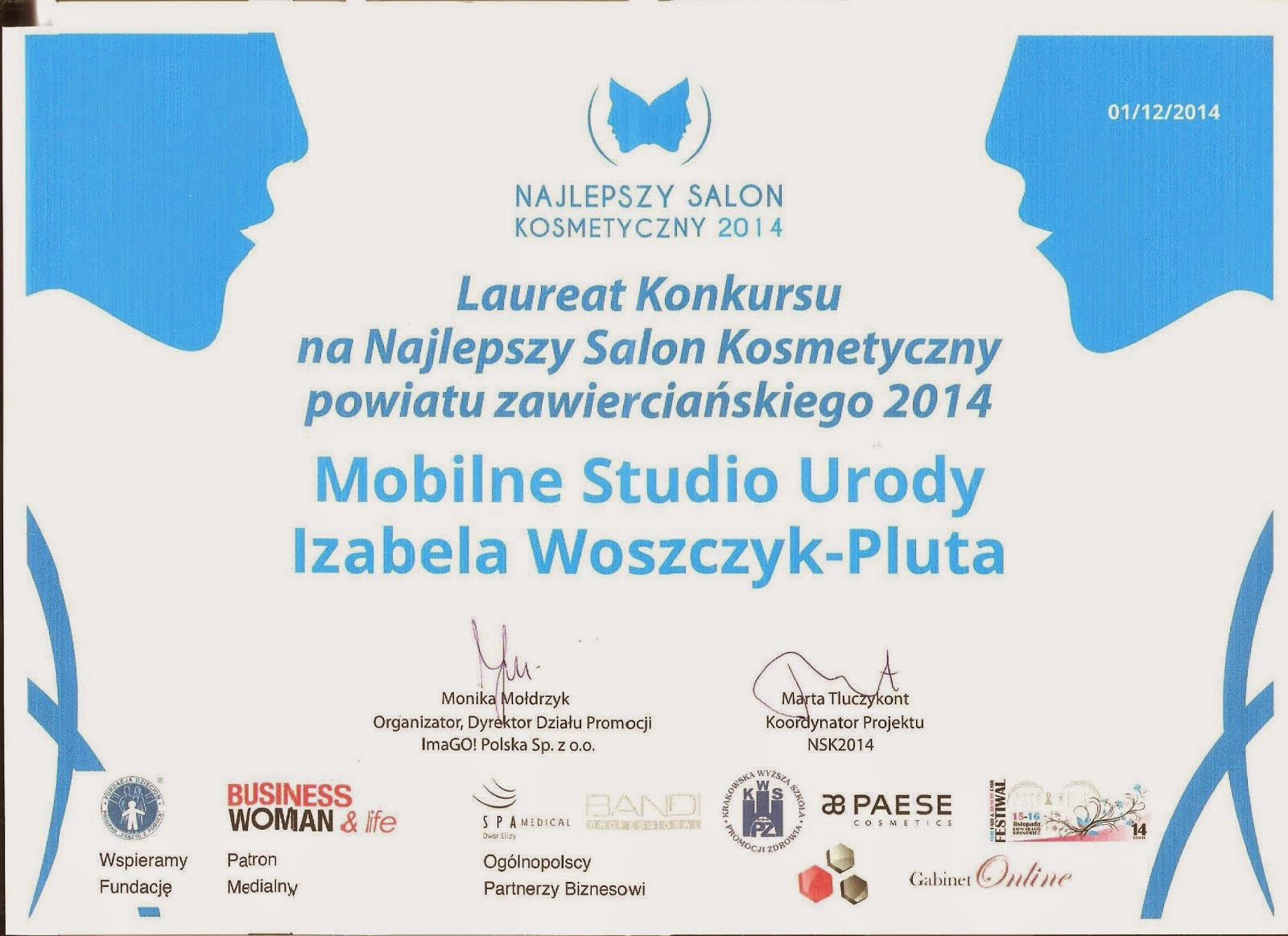Laureat Konkursu: Najlepszy Salon Kosmetyczny 2014r