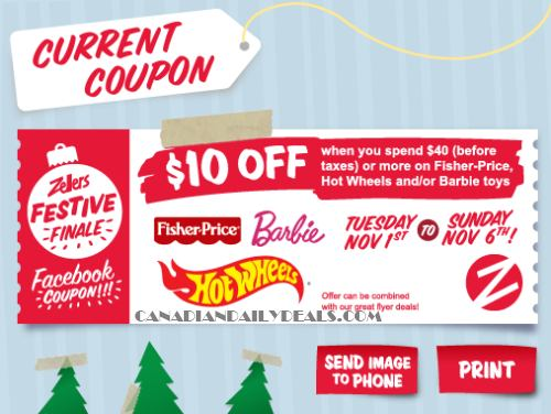 photograph about Fisher Price Printable Coupons titled Canadian Everyday Promotions: Zellers Coupon: $10 Off $40 Fisher