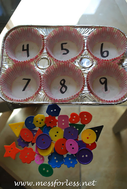 buttons and muffin tins