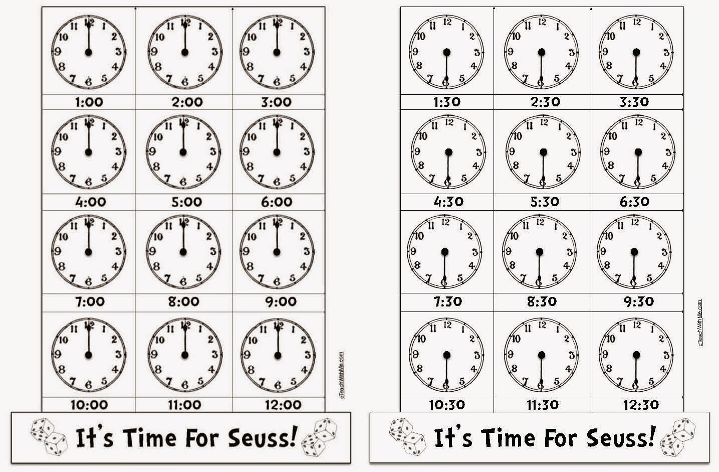 Classroom Freebies SeussThemed Telling Time to the Hour Half – Telling Time to the Hour Worksheet