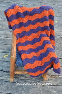 crochet wavy chevron blanket