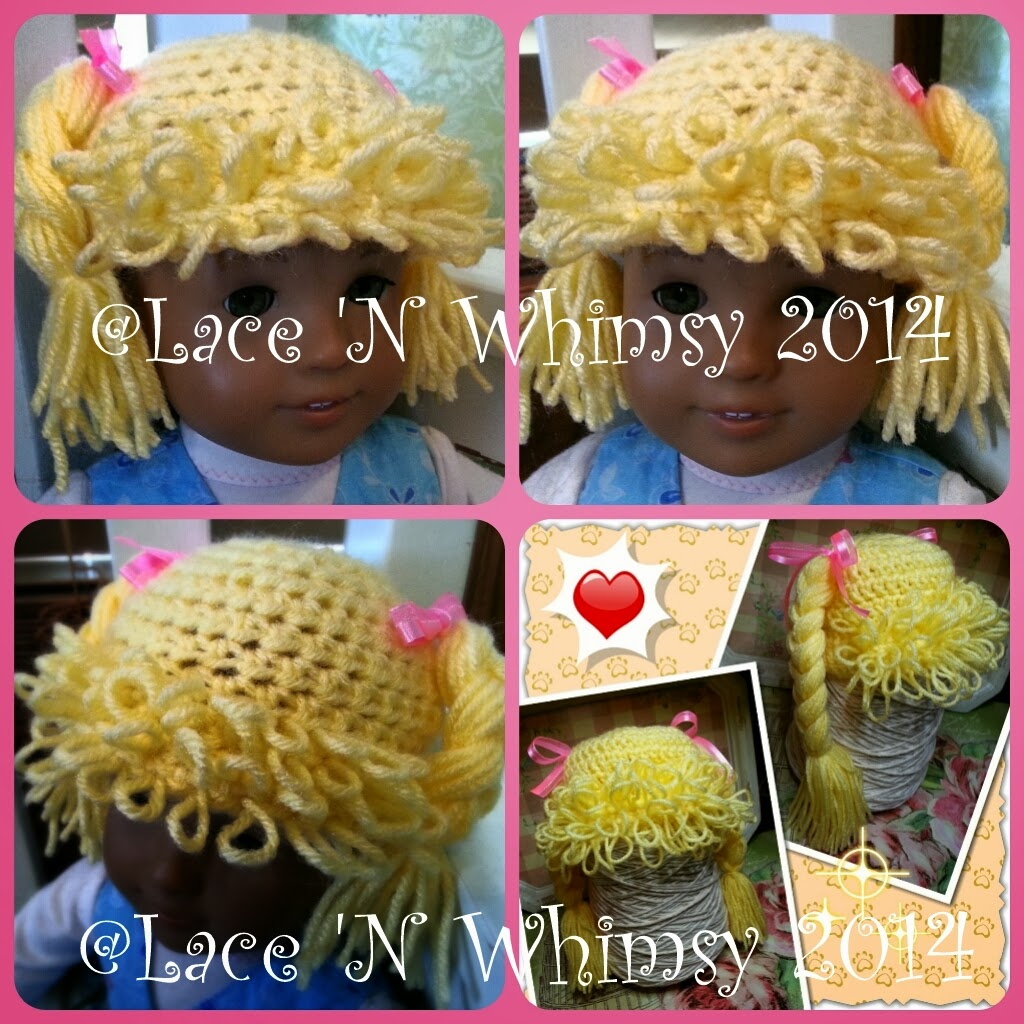 Lace and Whimsy: Cabbage Patch Doll Hair Hat Wig Free Crochet ...