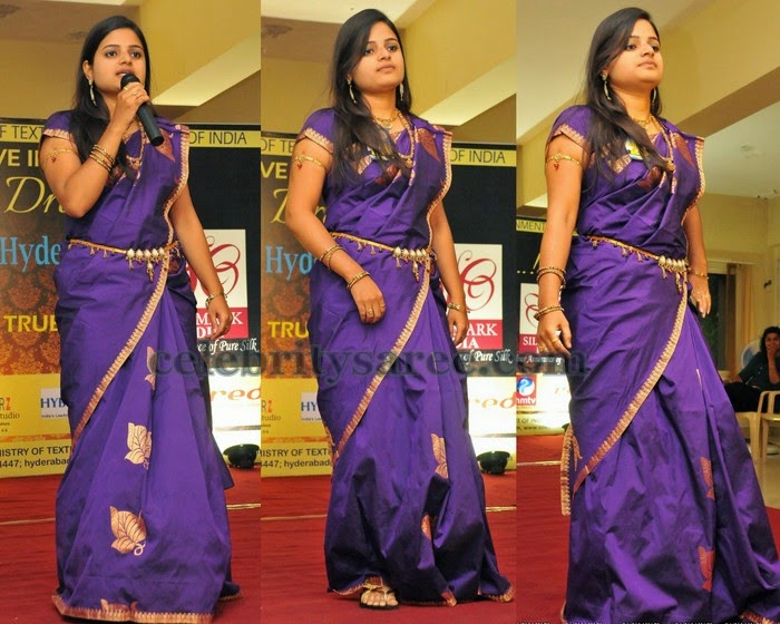 Simple Purple Silk Sari