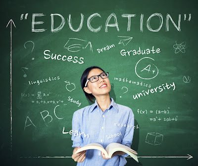 Image of student standing in front of chalk board that has words like: Education, Success, Graduate, University