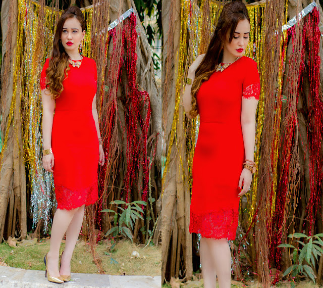 Red pencil dress with lace