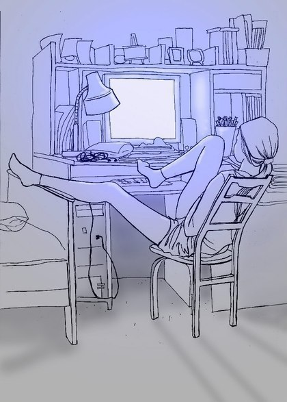 Я сижу в голубой простыне и рисую козла на стене