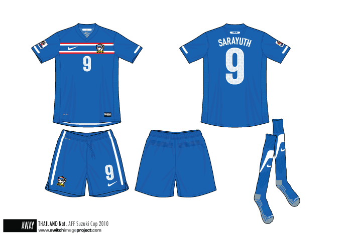 Football teams shirt and kits fan thailand aff suzuki cup 2010 away
