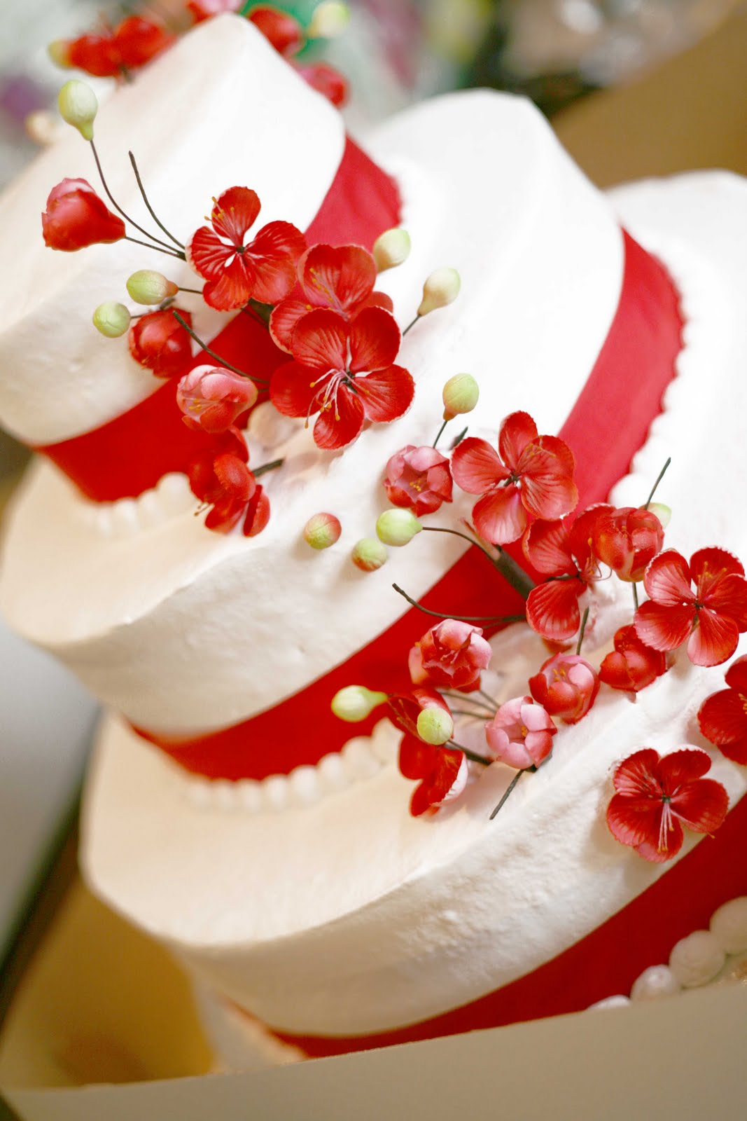 Hectors Custom Cakes White Cake With Flowers 3 Tiered Stacked