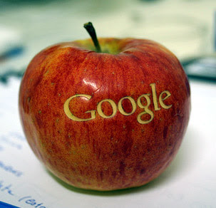 The Google logo scraped into a red apple.