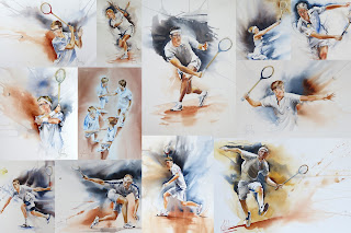 original watercolour paintings of rackets and real tennis at Queens Club London