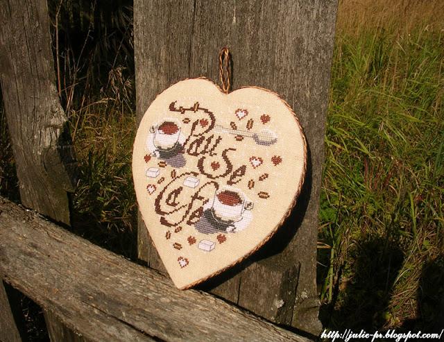 Кофейное сердце Isabelle Vautier, сердце I. Vautier, кофе, вышивка крестом, Изабель Вотье
