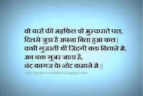 Hindi Pyaar Mohabbat Shayari: Woh Yaaro Ki Mehfil Dosti Shayari