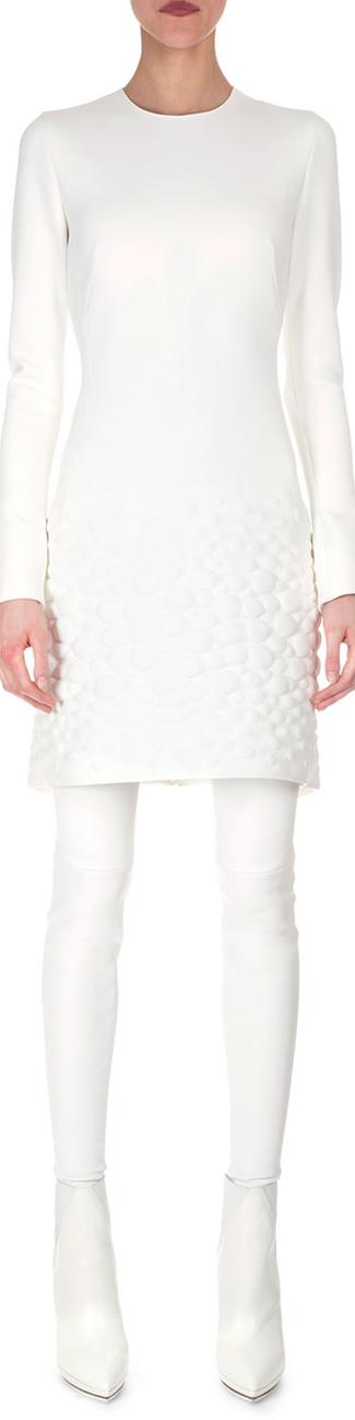 Akris Textured Apron Neoprene Dress and Stirrup Stockings