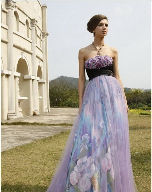 Wedding lady light purple excellent bridal gown for Purple summer dresses for weddings